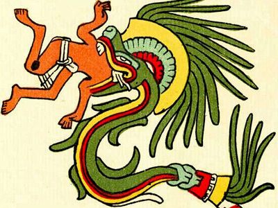 The dragon Quetzalcoatl as a feathered serpent in Codex Telleriano-Remensis