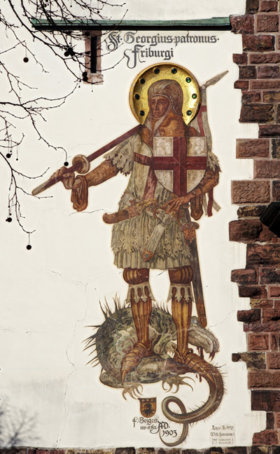 Saint George, wall painting at the Schwabentor, Freiburg, Fritz Geiges